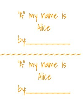 A my name is Alice booklet