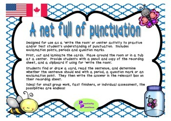 A net full of bugs punctuation practice
