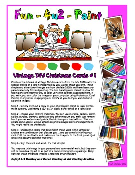 A new series Fun 4U2 print and paint featuring  4 vintage DIY Christmas cards -