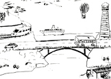 A not so classic coloring page: TRANSPORT - vintage style