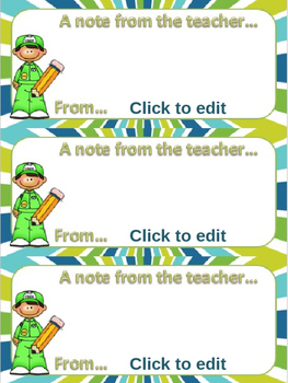 A note from the teacher – boy editable
