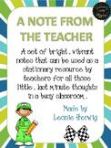A note from the teacher – boy editable