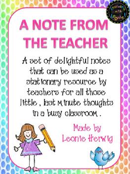 A note from the teacher – girl editable