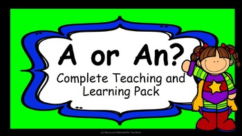 Grammar Writing Skills Articles A or An -Board Game, Lesson PowerPoint and more!