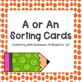 A or An Sorting Cards  #TeachersLoveTeachers