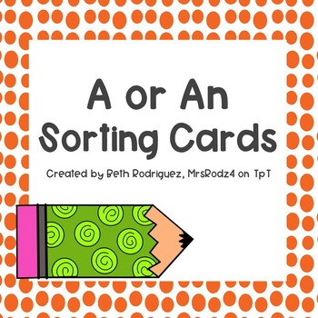 A or An Sorting Cards
