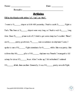 A Or An Worksheet Part 1 For Grade 1 By Iq Eagles Tpt