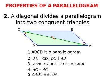 A parallelogram. Properties of a parallelogram