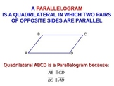 A parallelogram. Properties of a parallelogram