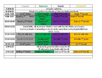 A  paraprofessional schedule