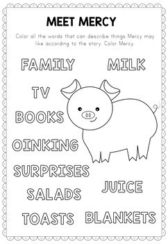 A piglet named Mercy activities, book companion (by Kate DiCamillo)