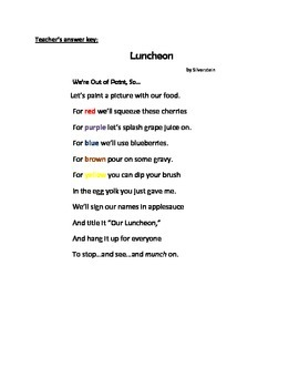 A poem titled Luncheon