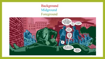 A  powerpoint on background, midground, and foreground in comic panels