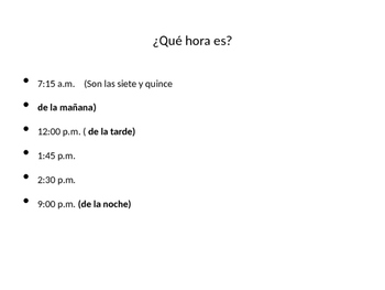 A que hora...Time Expressions in Spanish
