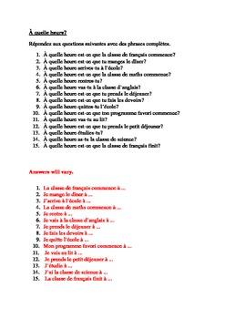 A quelle heure at what time french 2 review worksheet by jer tpt a quelle heure at what time french 2 review worksheet ibookread PDF