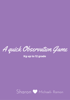 A quick Observation Game- to develop scanning, attention, fast reaction and more