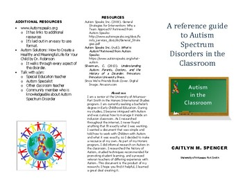 A quick guide to Autism in the classroom