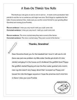 A run-on thank-you note