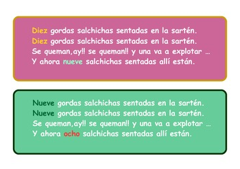 "A set of A4 resources for the spanish version of the song ""Ten fat sausages"""