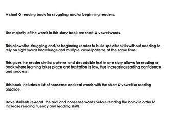 Reader book for the short o sound for beginning or struggling readers