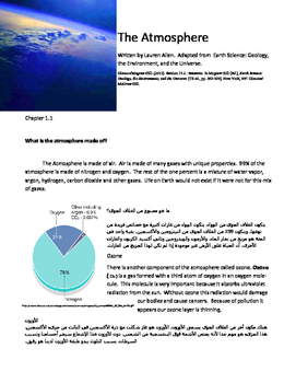 A shortened and simplified chapter on atmosphere for 8th g