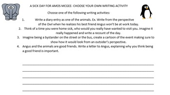 A sick day for Angus McGee Writing Adventure