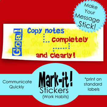 Sticker: Remind students to be neater! Make Feedback easier! Print on Labels