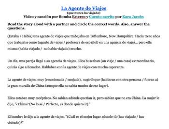 A story/song mini unit for late Spanish 2+ La Agente de Viajes (Internacionales)