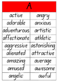 A to Z Adjectives Posters (NSW Foundation font) #ausbts18 Ends 30/1/18
