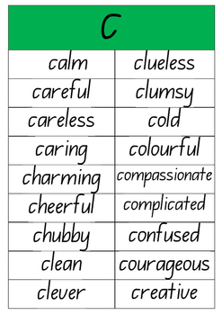 A to Z Adjectives Posters (NSW Foundation font)