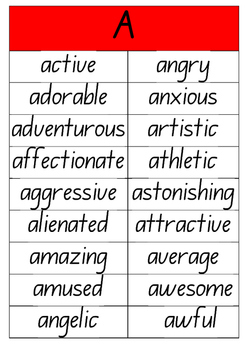#ausbts17 A to Z Adjectives Posters (NSW Foundation Writin