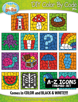 A to Z Alphabet Letter Icons Color By Code Clipart {Zip-A-Dee-Doo-Dah Designs}