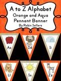 A to Z Alphabet Pennant Banner Classroom Decor Orange and Aqua