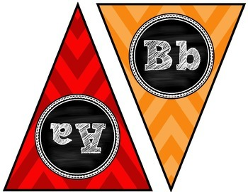 A to Z Alphabet Primary Chevron and Chalkboard Banners for Classroom Walls