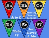 A to Z Alphabet Primary Chevron and Chalkboard Banners for