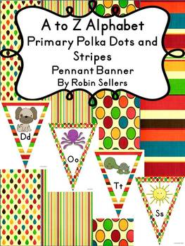 A to Z Alphabet Primary Polka Dots and Stripes Pennant Banner Classroom Decor