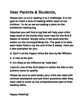 A to Z Alphabet Reading Challenge