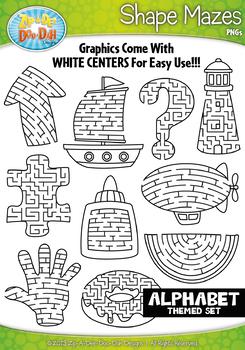 A to Z Alphabet Shaped Mazes Clipart {Zip-A-Dee-Doo-Dah Designs}