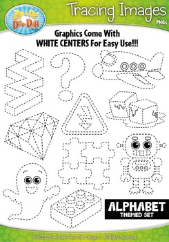 A to Z Alphabet Tracing Image Clipart Set 2 — Includes 26
