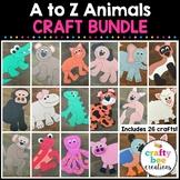Animal Crafts Bundle   A to Z Animal Craft Activities   Zoo   Pet   Jungle