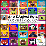 A to Z Alphabet Animal Hats Cut and Paste Set