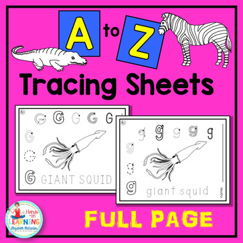 A to Z Animal Letter Tracing Sheets - An Animal Literacy C