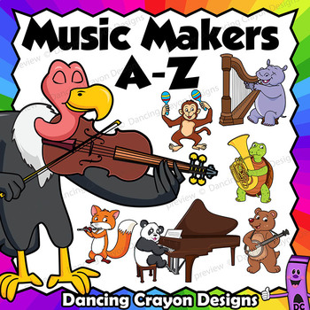 A to Z Animal Musicians Clip Art - Animals Playing Musical Instruments