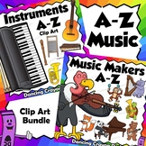 A to Z Animal Musicians and Musical Instrument Clip Art BUNDLE