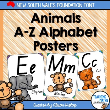 Alphabet nsw foundation font teaching resources teachers pay teachers animal alphabet posters nsw foundation font fandeluxe Image collections