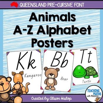 Animal Alphabet Posters - Queensland Precursive Font