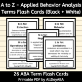 A to Z - Applied Behavior Analysis Terms - B+W Flash Cards