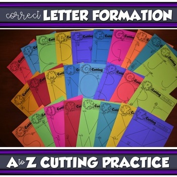 A to Z CUTTING PRACTICE {Correct Letter Form, Fine Motor Skills, Handwriting}