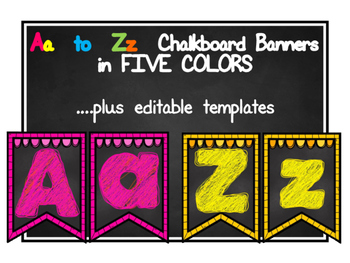 EDITABLE A to Z Chalkboard Banners