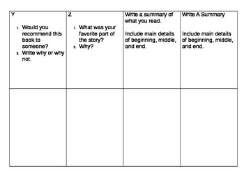 A to Z Comprehension Task Cards